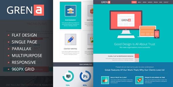 Grena | Multi-Purpose Parallax PSD Landing Page - PSD Templates