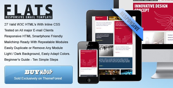 27 General Flat Email Templates - Dark / Light - Newsletters Email Templates