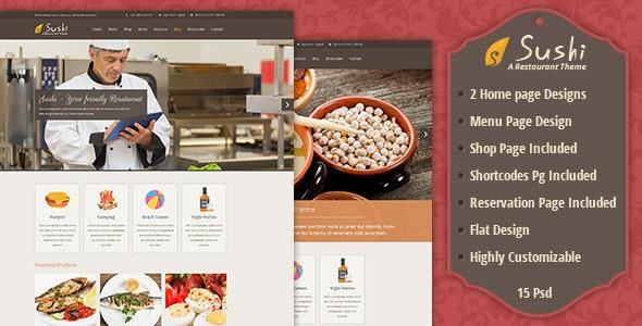 Sushi   Restaurant PSD Template - Retail Photoshop
