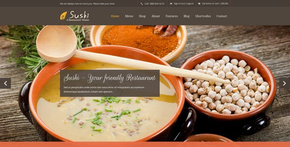 Sushi | Restaurant PSD Template