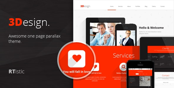 3Design - Awesome One Page Parallax Theme - Corporate Photoshop
