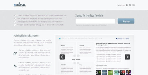 Xcelense Landing Page