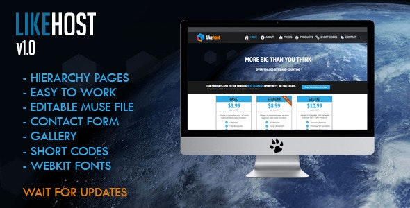 Like Hosting Muse Template - Corporate Muse Templates