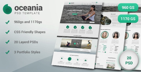 Oceania PSD Template - Creative Photoshop