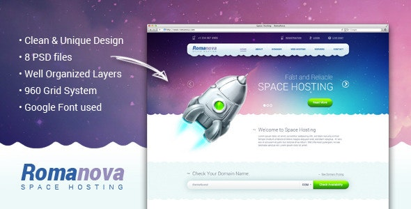 Romanova - Web Hosting Company PSD Template - Hosting Technology