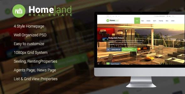 Homeland - Real Estate PSD Template - Business Corporate