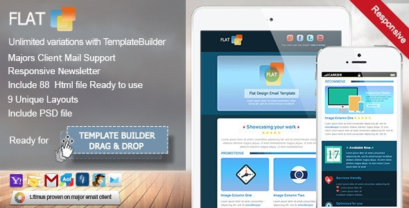 Flat - Responsive Email Template - Email Templates Marketing
