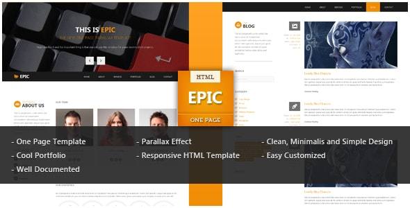 Epic One Page Parallax HTML Template - Portfolio Creative