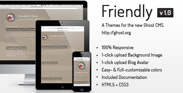 Friendly Responsive Theme for the new Ghost CMS - Ghost Themes Blogging