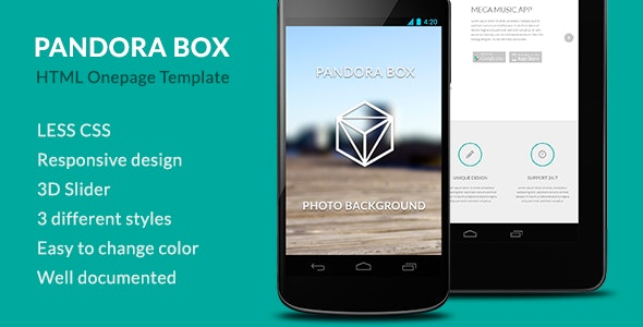 Pandora Box: Mobile Develop Onepage HTML Template - Landing Pages Marketing