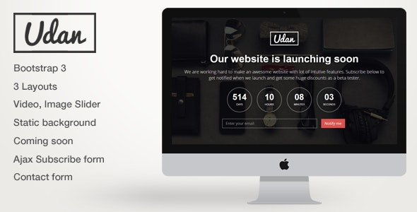 Udan - Responsive Coming Soon page Template - Under Construction Specialty Pages