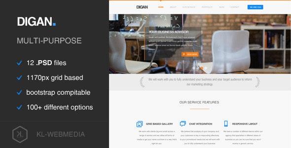 Digan - Multi-Purpose PSD Template - Business Corporate