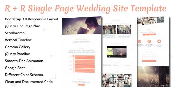 R+R Wedding Landing Page Template - Wedding Site Templates
