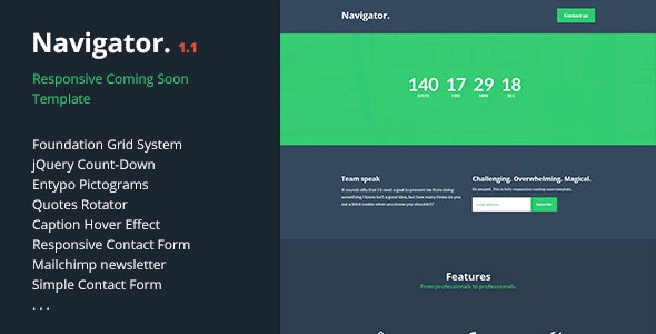 Navigator   Responsive Coming Soon Template - Under Construction Specialty Pages