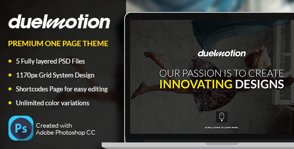 DuelMotion - Premium One Page Theme - Corporate Photoshop