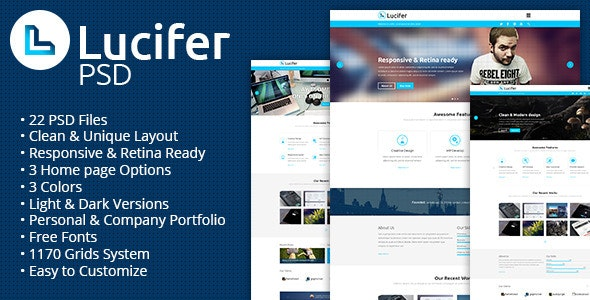 Lucifer - Multipurpose PSD Theme - Portfolio Creative