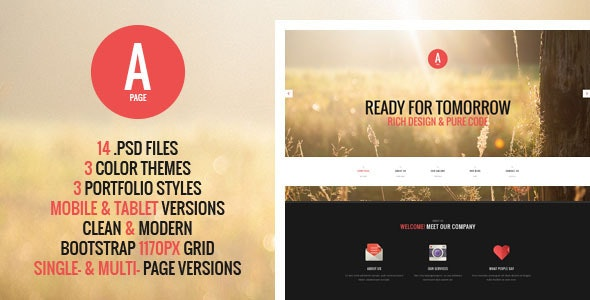 A-Page - Flat Onepage & Multipage PSD Template - Creative Photoshop