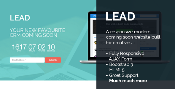 Lead - Responsive Countdown Clock Landing Page - Creative Landing Pages