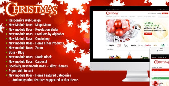 Responsive Merry Christmas OpenCart Theme - Entertainment OpenCart