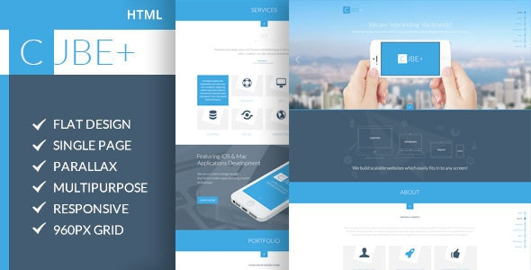Cube+ | One Page Parallax HTML Template - Creative Site Templates