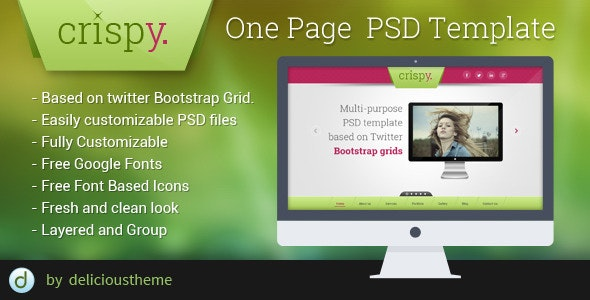 Crispy - One Page PSD Template - Corporate Photoshop