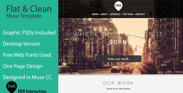 Flat & Clean | One Page Parallax Muse Theme - Creative Muse Templates