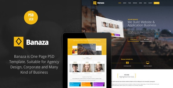 Banaza - Ultimate Flat One Page  PSD Template - Creative PSD Templates