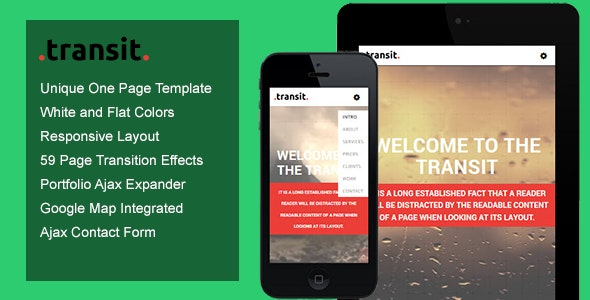 Transit - One Page Transition Template - Creative Site Templates