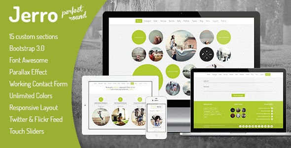 Jerro - Responsive One Page Round Template - Creative Site Templates