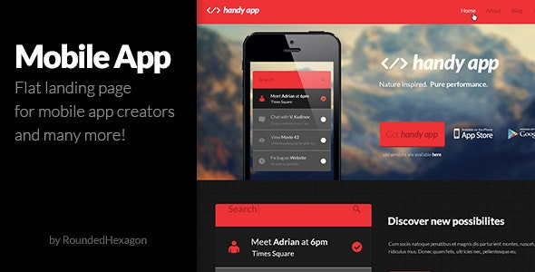 Multipurpose Flat Mobile App PSD Template - Creative PSD Templates