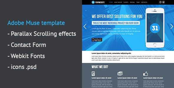 One Page Parallax Muse Template - Corporate Muse Templates