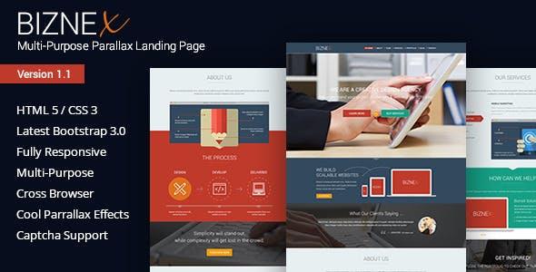 BizNex   Multi-Purpose Parallax Landing Page