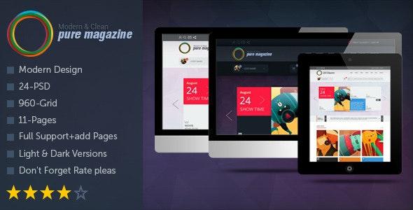 Pure Magazine: Clean Magazine/Blog/Shop/News PSD - Photoshop UI Templates