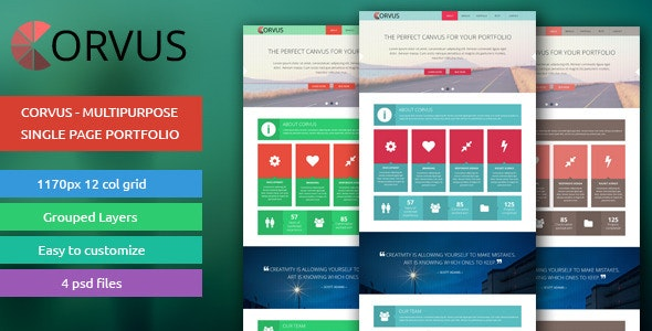 Corvus - Multipurpose Single Page Portfolio - Portfolio Creative