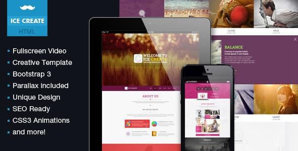 ICE Create - Responsive One Page HTML Template - Portfolio Creative