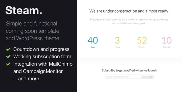 Steam – responsive Coming Soon page template - Under Construction Specialty Pages