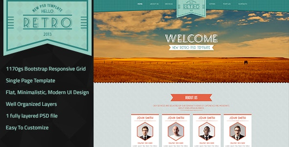 Retro New Psd Template - Creative Photoshop