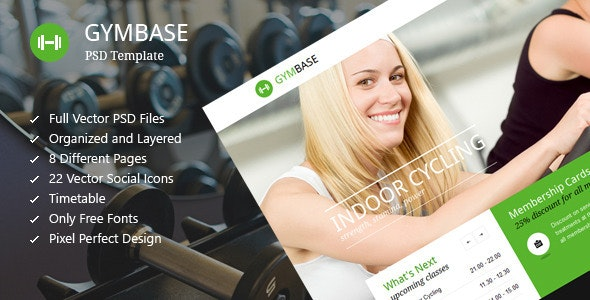 GymBase - Gym Fitness PSD Template - Health & Beauty Retail