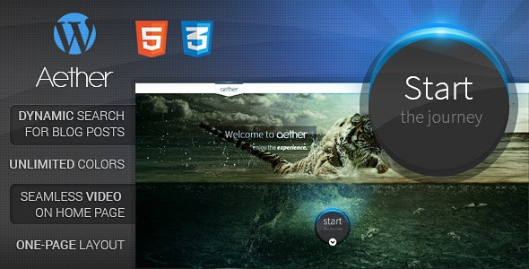 Aether - Single-Page Wordpress Theme - Photography Creative