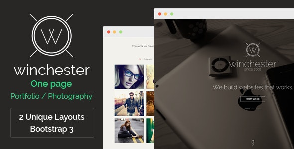 Winchester - One page parallax template - Photoshop UI Templates