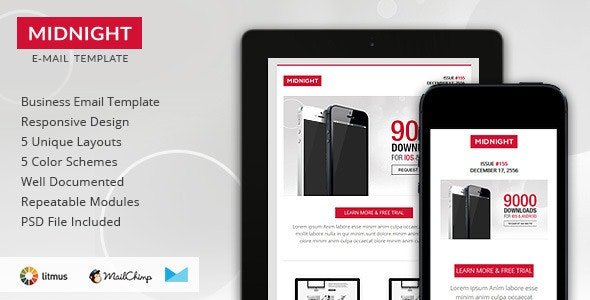 Midnight - Premium Responsive HTML Email Template - Newsletters Email Templates