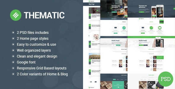Thematic - clean, modern and flat PSD theme. - Corporate Photoshop