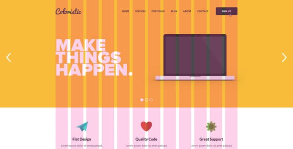 Coloristic - Flat OnePage PSD Template