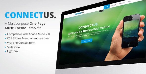 ConnectUs - One Page Muse Template - Corporate Muse Templates
