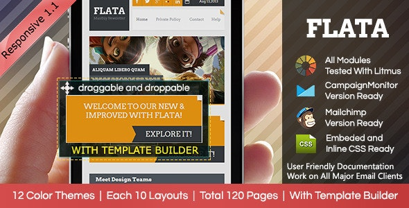 FLATA- Flat Responsive Email With Template Builder - Email Templates Marketing