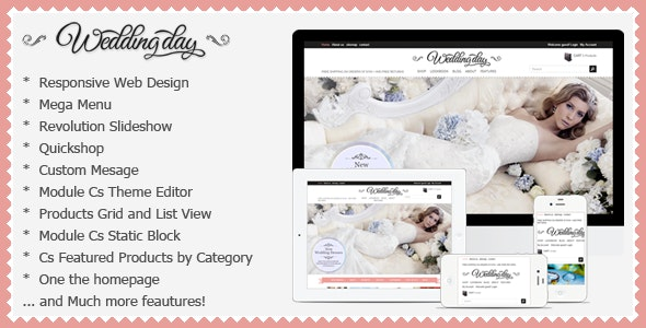 Wedding Responsive Prestashop Theme - WeddingDay - Fashion PrestaShop