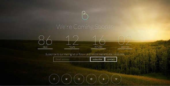 BERSUA Responsive Coming Soon Page - Under Construction Specialty Pages