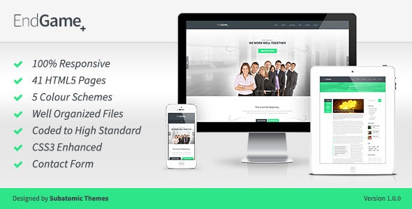 EndGame - Responsive, Retina Ready HTML Template - Corporate Site Templates
