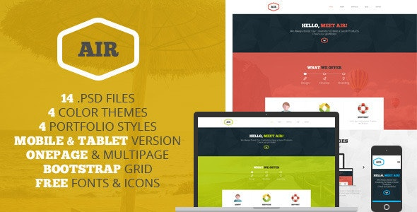 AIR - OnePage & Multipage PSD template - Photoshop UI Templates