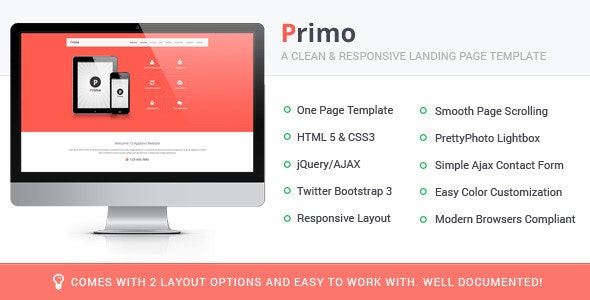 Primo Responsive Landing Page Template - Apps Technology